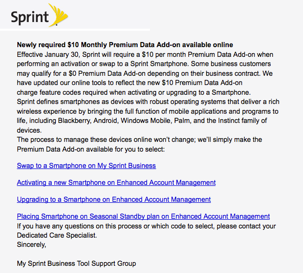 Sprint's Newly REQUIRED $10 Monthly Premium Data Add-on